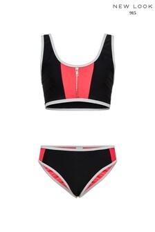 New Look Girls Colour Block Crop Bikini Set