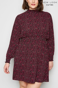 New Look Curve Leopard Print Shirred Neck Dress