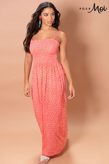 Pour Moi Removable Straps Shirred Bodice Maxi Dress