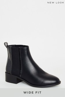 New Look Wide Fit PU Flat Chelsea Boots