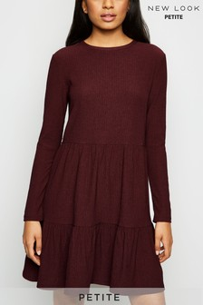 New Look Petite Burgundy Crinkle Long Sleeve Smock Dress