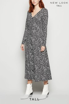 New Look Tall Black Floral Soft Touch Midi Dress