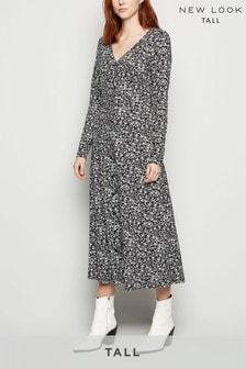 New Look Tall Black Floral Soft Touch Midi Dress