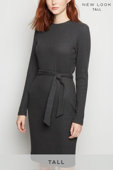 New Look Tall Ribbed Knit Belted Tunic Dress