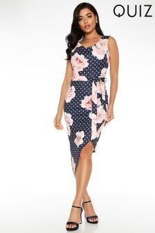 Quiz Polka Dot And Floral Cowl Neck Midi Dress
