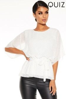 Quiz Polka Dot Mesh Batwing Top