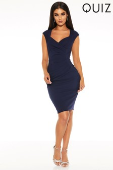 Quiz Sweetheart Neck Ruched Midi Dress