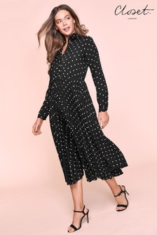 Closet Pleated Shirt Dress