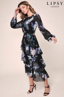 Lipsy Printed Tiered Midi Dress