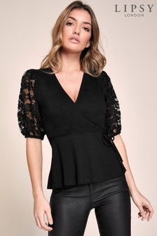 Lipsy Puff Sleeve Lace Wrap Top