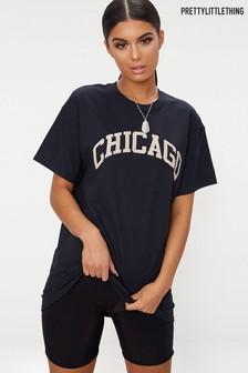 PrettyLittleThing Chicago Slogan Oversized T-Shirt