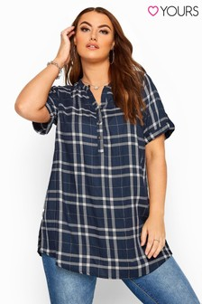 Yours Curve Short Sleeve Check Shirt