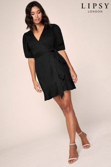 Lipsy Poplin Wrap Mini Dress
