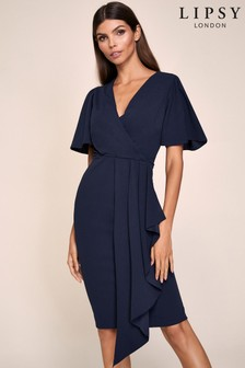 Lipsy Angel Sleeve Drape Dress