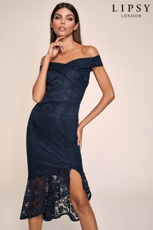 Lipsy Lace Bardot Flippy Hem Dress