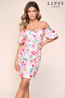 Lipsy Puff Sleeves Bardot Scuba Dress