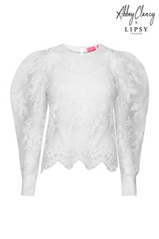 Abbey Clancy x Lipsy Lace Puff Sleeve Blouse