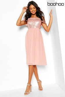 Boohoo Occasion Sequin Bardot Midi Dress
