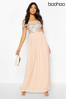 Boohoo Sequin Bardot Maxi Dress