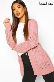 Boohoo Pocket Detail Cable Knit Cardigan