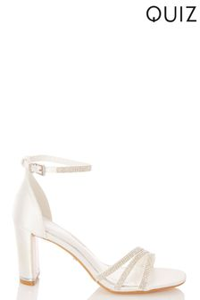 Quiz Bridal Satin Triple Diamanté Square Toe Heeled Sandal