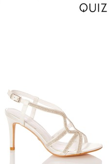Quiz Bridal Diamanté 3 Swirl Strap Sandal