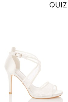 Quiz Bridal Satin Lace Cross Strap Heel Sandal