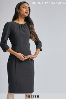 Dorothy Perkins Petite 3/4 Sleeve Pleat Neck Dress