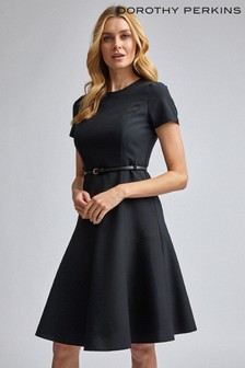 Dorothy Perkins Fit And Flare Belted Short Sleeve Dress