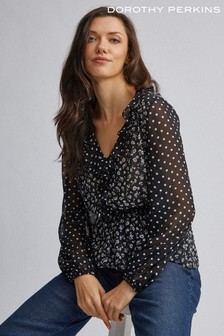 Dorothy Perkins Ruffle Neck Mix And Match Floral Top