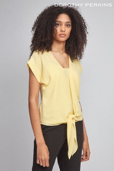 Dorothy Perkins 2-In-1 Tie Short Sleeve Top