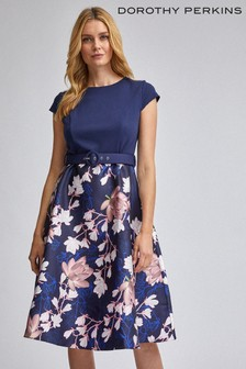 Dorothy Perkins Luxe Belted Floral Fit And Flare Dress