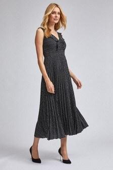 Dorothy Perkins Luxe Mono Spot Ruffle Trim Pleated Midaxi Dress