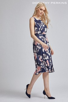 Dorothy Perkins Luxe Navy Floral Belted Satin Pleat Midi Dress