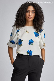 Dorothy Perkins Ivory Floral Puff Sleeve Top