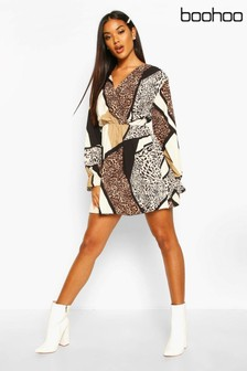 Boohoo Woven Mixed Animal Wrap Shift Dress