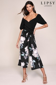 Lipsy Puff Sleeves Culotte Jumpsuit