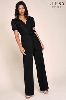 Lipsy Lace Puff Sleeve Jumpsuit