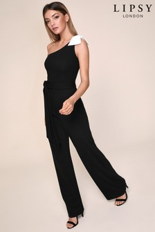Lipsy One Shoulder Bow Jumpsuit