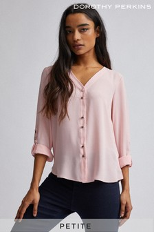Dorothy Perkins Petite Plain Roll Sleeves Shirt