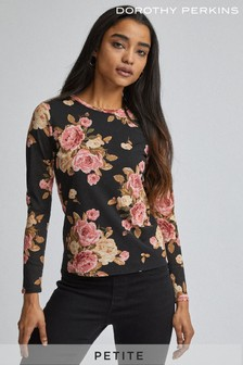 Dorothy Perkins Petite Eliza Floral Jersey Long Sleeves Twist Front Top