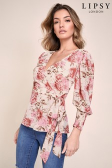 Lipsy Shirred Cuff Detail Wrap Top