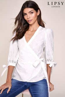Lipsy Broderie Wrap Top
