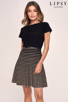 Lipsy Knitted Short Sleeve Fit And Flat Belted Dress