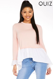Quiz Light Knit Top With Peplum