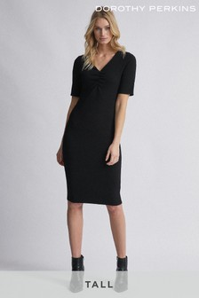 Dorothy Perkins Tall Ruched Front V neck Bodycon Dress