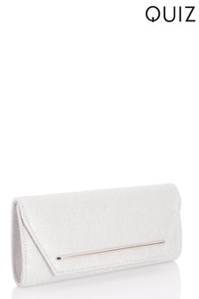 Quiz Shimmer Plated Flap Clutch Bag