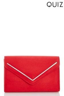 Quiz Faux Suede Envelope Plated Flap Clutch Bag