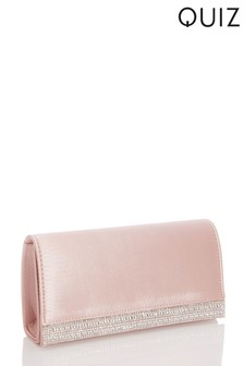 Quiz Satin Diamante Strip Flap Clutch Bag
