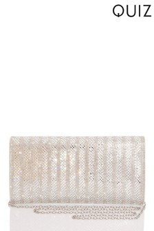 Quiz All Over Diamante Flat Clutch Bag